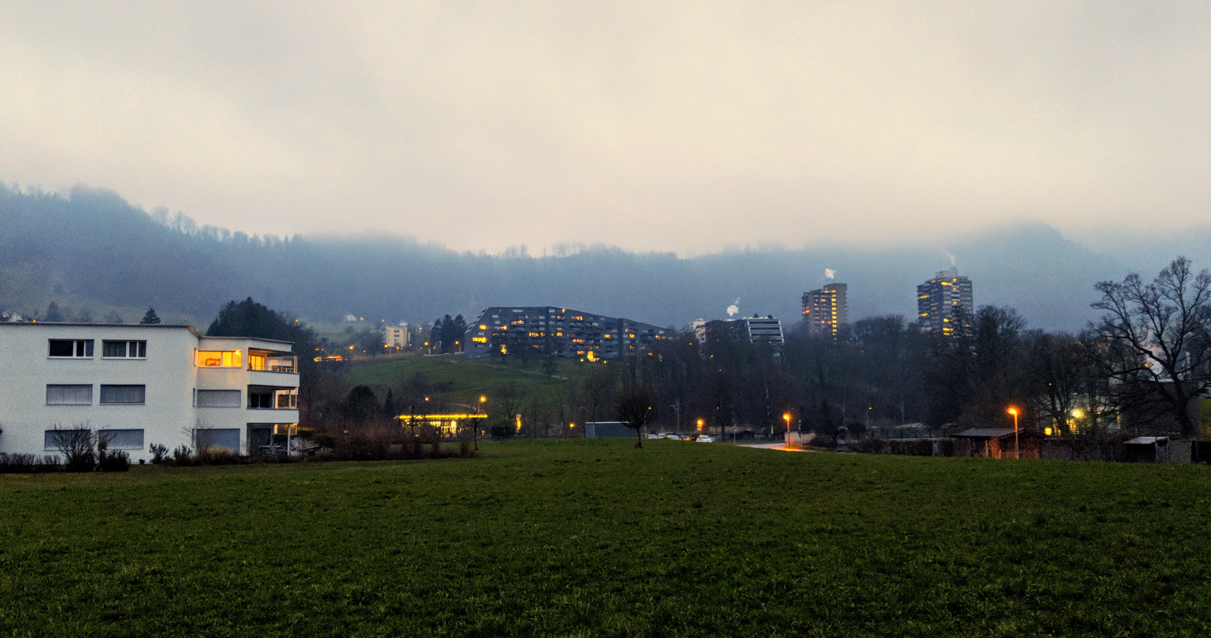 Running route in Zurich - Adliswil With Fog
